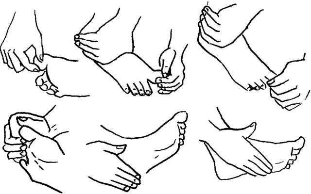 Схема массажа стопы при вальгусной деформации